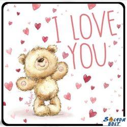 Szerelmes hűtőmágnes, maci sok szívvel, I love you