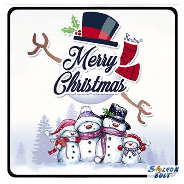 Karácsonyi hűtőmágnes, hóember család