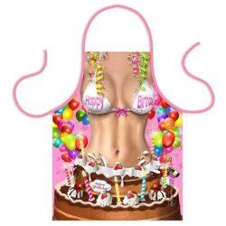 Szakács kötény, születésnapi tortás, nőknek