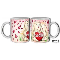 Szerelmes bögre, Pimi macik, szeretlek, nagy piros szív