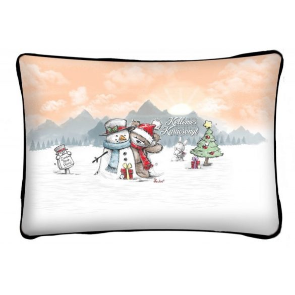 Díszpárna karácsonyra, maci és hóember