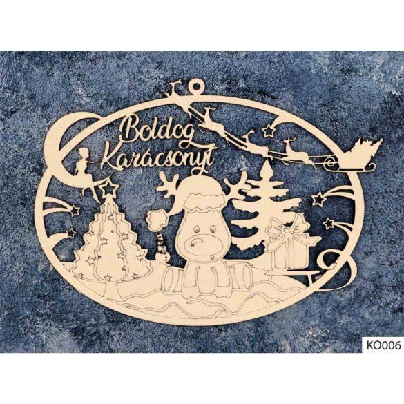 Karácsonyi dekoráció, ajtódísz, rénszarvas hóban