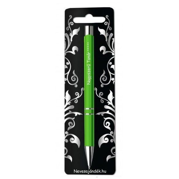 Gravírozott toll, Nagyszerű tanár, zöld
