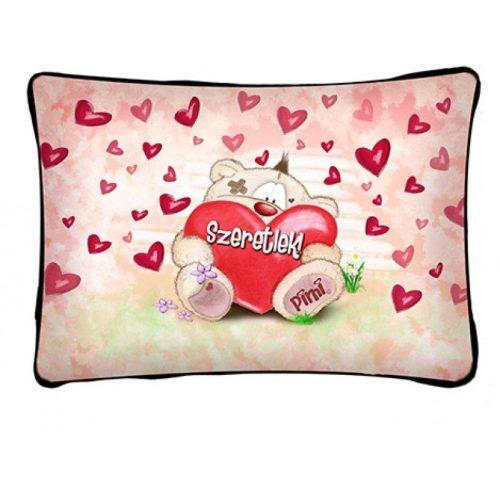 Díszpárna, szeretlek, Pimi maci hatalmas szívvel, szerelmes ajándék