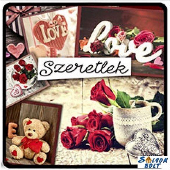 Szerelmes hűtőmágnes, szeretlek, love, maci, rózsák