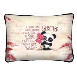 Díszpárna, a legszebb érzés, panda maci