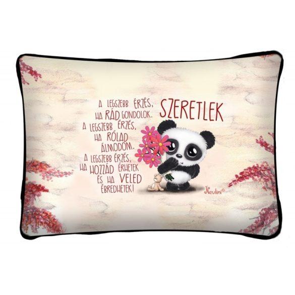 Díszpárna, a legszebb érzés, panda maci, szerelmes ajándék