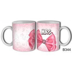 Vicces bögre, Mrs, rózsaszín masni