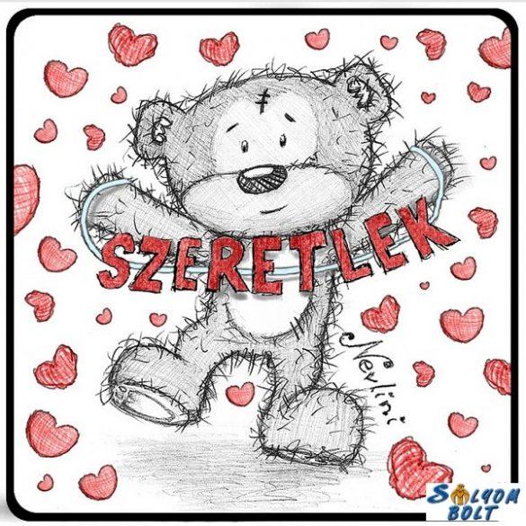 Szerelmes hűtőmágnes, maci ugrál, szívek, szeretlek