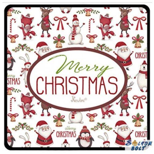 Karácsonyi hűtőmágnes, Merry Christmas, apró figurák