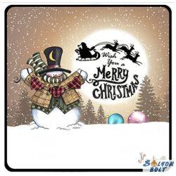 Karácsonyi hűtőmágnes, Merry Christmas, cilinderes hóember