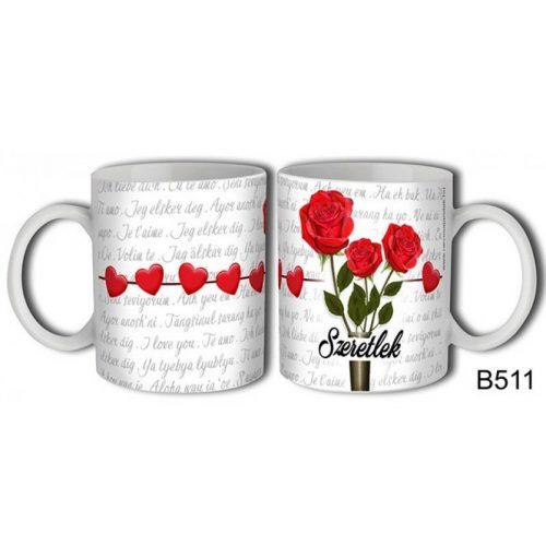 Szerelmes bögre, szeretlek, 3 szál rózsa