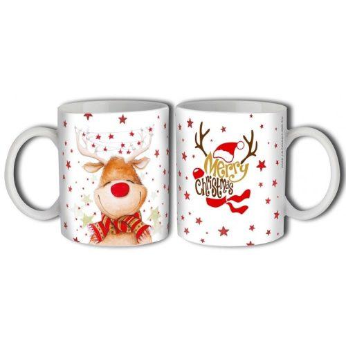 Bögre karácsonyra, mosolygó Rudolf rénszarvas