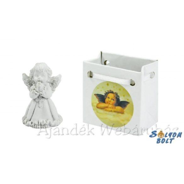 Angyal szobor, karácsonyi imádkozó angyalka dísztasakban