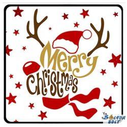 Karácsonyi hűtőmágnes, Rudolf, Merry Christmas