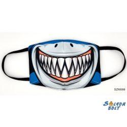 Vicces szájmaszk, cápa fogsor