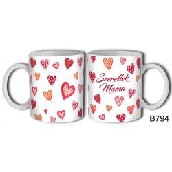 Bögre, Anyák napja, szeretlek Mama, mintás szívecskék