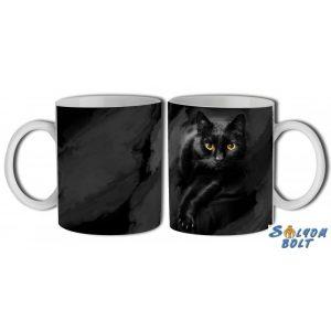 Cicás bögre, fekete macska
