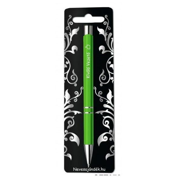 Gravírozott toll, Kiváló vezető, zöld