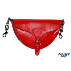 Női bőr váll-és övtáska (piros)
