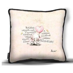 Kicsi díszpárna, szeretlek, kis elefánt szívvel, szerelmes ajándék