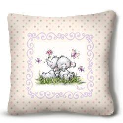 Kicsi plüss díszpárna, kis elefántok, bézs háttér