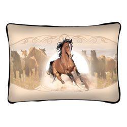 Lovas díszpárna, barna futó ló