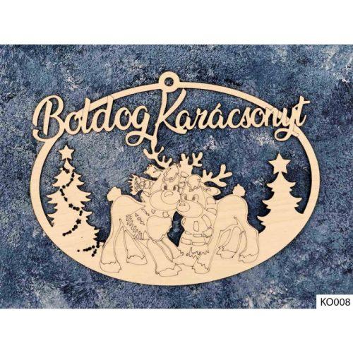 Karácsonyi dekoráció, ajtódísz, szarvasok