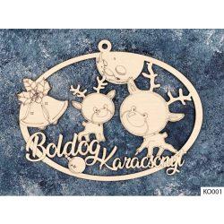 Karácsonyi dekoráció, ajtódísz, kis szarvasok