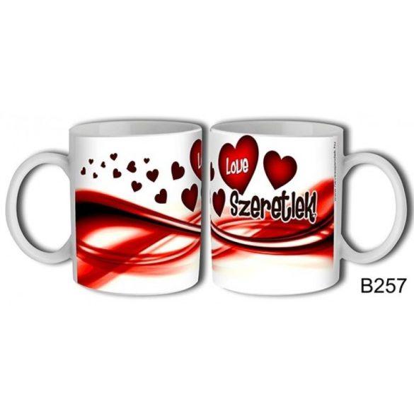 Szerelmes bögre, szeretlek, love, piros szívek