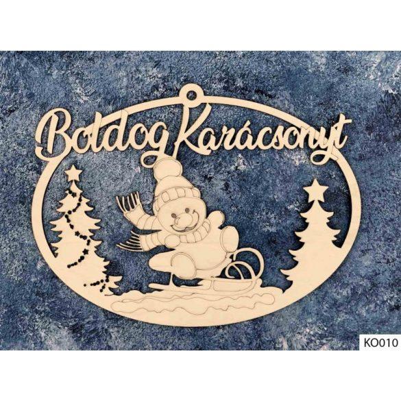 Karácsonyi dekoráció, ajtódísz, szánkós hóember