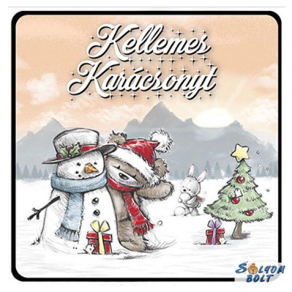 Karácsonyi hűtőmágnes, maci és hóember