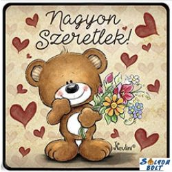 Szerelmes hűtőmágnes, Nagyon szeretlek, maci virágokkal