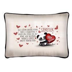Díszpárna, tiéd a szívem, panda maci, szeretlek