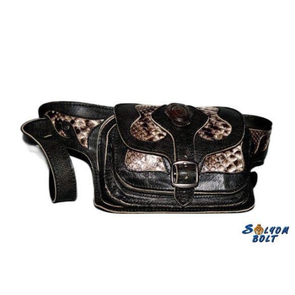 Hasi-tasi bőr övtáska, kígyóbőrrel, barna és fekete