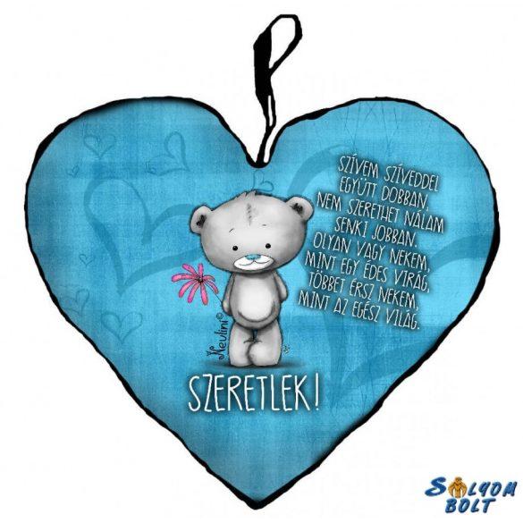 Szív alakú párna, kék szívvel maci, szeretlek