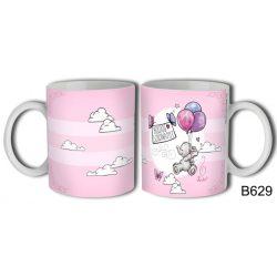 Bögre születésnapra, Boldog szülenapot, kis elefánt lufikkal, rózsaszín