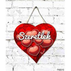 Szív tábla falra, piros szívek, szeretlek, szerelmes ajándék