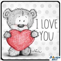 Szerelmes hűtőmágnes, I love you, szürke maci szívvel