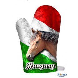 Vicces edényfogó kesztyű, Hungary - barna ló