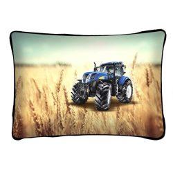 Díszpárna, traktor kék színben