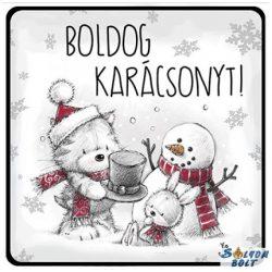 Karácsonyi hűtőmágnes, hóember, cica, nyuszi