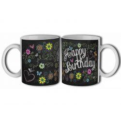Bögre születésnapra, Happy Birthday, virágok sötét alapon