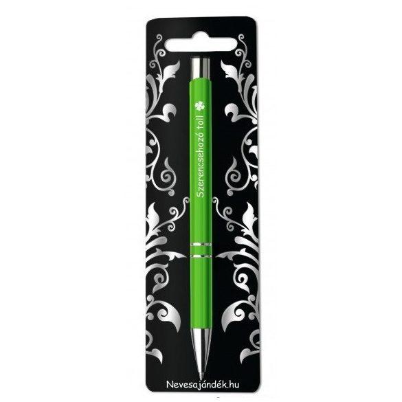Gravírozott toll, Szerencsehozó toll, zöld