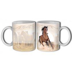 Lovas bögre, futó barna ló