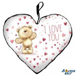 Szív alakú párna, I love you, maci sok piros szívvel