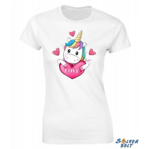 Vicces női póló, unikornis Love
