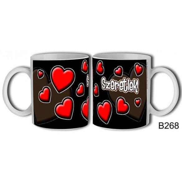 Szerelmes bögre, szeretlek, piros szívek fekete alapon