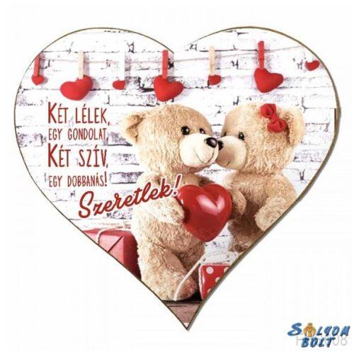 Szív hűtőmágnes, macik, Két lélek, egy gondolat, szerelmes ajándék