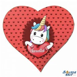 Szív hűtőmágnes, unikornis, szeretlek, szívek, szerelmes ajándék